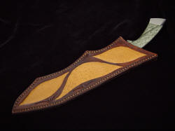 """Jungle Bowie"" sheathed view. Sheath is deep, hand-stitched, inlaid with large panels of Emu skin"