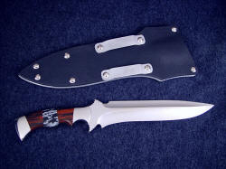 """Kadi"" reverse side view: double edged, differentially ground, mirror finished blade"