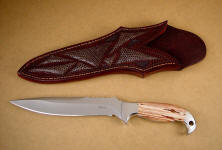 """Kapteyn"" Obverse side view: 440C high chromium stainless steel blade, 304 stainless steel bolsters, Antelope Jasper gemstone knife handle, lizard skin inlaid in hand-carved leather knife sheath"