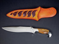 """Kapteyn"" obverse side view in 440C high chromium stainless steel blade, 304 stainless steel bolsters, Cobra Jasper (Script stone) gemstone handle, Ostrich leg skin inlaid in hand-carved leather sheath"