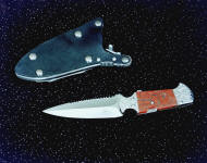 "The ""Kid"" CSAR double edged knife with hookblade, obverse side view in 440C high chromium stianless steel blade, hand-engraved 304 stainless steel bolsters, brecciated jasper gemstone handle, locking kydex, aluminum, stainless steel sheath"