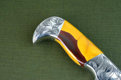 """Knapp Trailhead"" reverse side rear bolster detail. Seamless fit, fine lines, bold engraving in this beautiful knife"