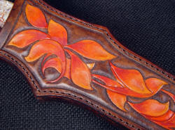 """Kotori"" sheath detail. 9-10 oz. thick leather shoulder is hardened, hand-carved, hand-tooled and meticulously hand-dyed for a permanent, beautiful texture and appearance"