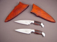 """Lagus"" pair, obverse side view; ATS-34 high molybenum stainless steel blades, 304 stainless steel bolsters, Mahogany Obsidian gemstone handles, leather sheaths"