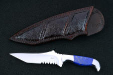 """Lethal Chance"" obverse side view in CTS-XHP high chromium martensitic powder metal technology tool steel blade, 304 stainless steel bolsters, Lapis Lazuli gemstone handle sheath of Buffalo skin inlaid in hand-carved leather"