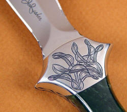 """Little Venus"" obverse side bolster engraving detail. Note twisted leaf motif to compliment dagger shape."