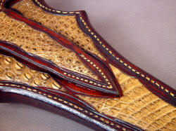 """Macha"" crocodile sheath rear panel detail, inlays on belt loop"