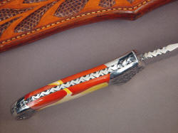 """Macha Navigator"" spine edgework, filework detail. Note heavy spine of 1/4"" thick ATS-34 stock, nice book matching of gemstone handle scales"