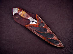 """Malaka"" sheathed view. Note sheath displays handle and bolsters nicely, yet protects cutting edge, blade, and point."