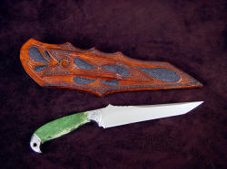 """Mercator"" reverse side view. Note multiple inlays of stingray skin in sheath back and belt loop, loop matches sheath front in shape"