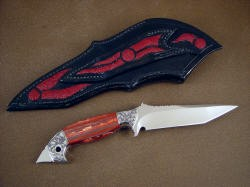 """Mercurius Magnum"" reverse side view. Note artisitic carved inlays in rear of sheath and belt loop."