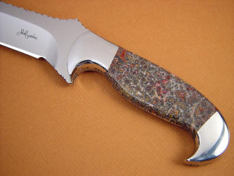 """Mercury Magnum"" obverse side handle detail. Red Leopard Skin Jasper is tough, hard, durable and beautiuful"