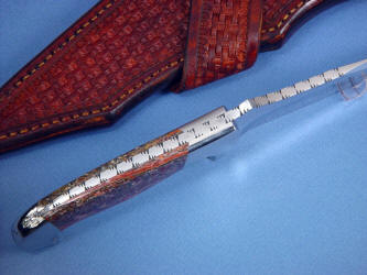 """Mercury Magnum"" spine view, filework detail. Note thick spine for strong blade to handle junction, dovetailed bolsters and gemstone handle scales"