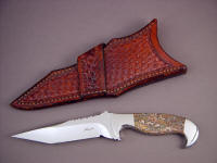 """Mercury Magnum"" obverse side view: 440C stainless steel blade, 304 stainless steel bolsters, Red Leopard Skin Jasper gemstone handle, basket weave crossdraw leather sheath"