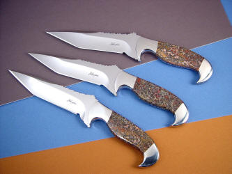 """Mercury Magnums"" trio of fine handmade custom knives in stainless steel, hollow ground with stainless steel bolsters and Red Leopard Skin Jasper gemstone handles"