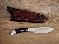 """Mule"" reverse side view. Note sparse pattern Snowflake Obsidian gemstone, inlays on back of sheath"