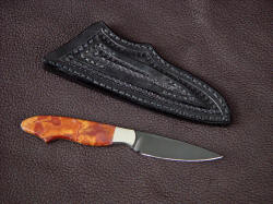 """Nihal"" reverse side view. Lines of this small knife are clean and crisp, good contrast between the handle and blade"