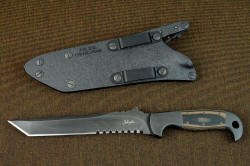 """PJ-CT"" obverse side knife view, reverse side sheath details with die-formed anodized aluminum belt loops"