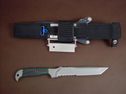 """PJLT"" fine handmade custom CSAR tactical knife, reverse side view. The sheath is mounted in a removable ultimate extender that allows more traditional belt placement and ride."