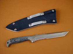 """PJLT"" CSAR professional combat rescue knife, reverse side view."