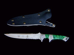 "Special Forces Combat Knife ""Patriot"" reverse side view. Sheath is positively locking and waterproof"