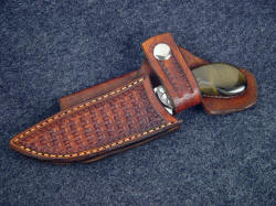 """Pecos II"" sheathed detail. Snap flap retention of knife in horizontal sheath is secure"