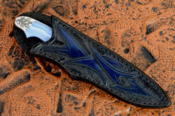 """Perseus"" sheathed view. Sheath is bold and handsome, deep and protective of this knife with a high back and strong binders throughout."