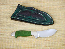 """Pherkad"" skinning, utility, collectors knife, reverse side view. Note stingray skin inlays on sheath belt loop"