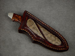 """Pluto"" sheathed view. Sheath is protective and unique, with Rattlsnake skin inlays"