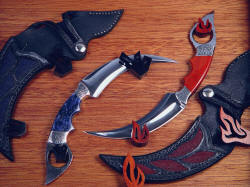"""Raptor"" kerambits in case. Hangers are ebony and bloodwood, all color of woods is natural, all pieces are hand-carved"