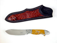 """Regulus"" obverse side view in 440C high chromium stainless steel blade, hand-engraved 304 stainless steel bolsters, Sampson Peak Brecciated Jasper gemstone handle, American Alligator inlaid in leather sheath"