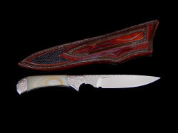 """Ruidoso"" reverse side view. Sheath has carving, inlay of stingray skin on back, is thick and strong, stitched with black Nylon thread"
