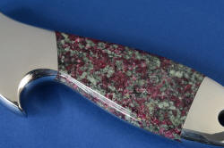 """Taibhse"" reverse side handle detail. Gemstone handle is full of almandine garnets, and will outlast the blade"