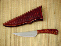 """Talitha"" in 440C high chromium stainless steel blade, 304 stainless steel pins, black, red spacer, stabilized redwood burl handle, hand-stamped basket weave tooled leather sheath"