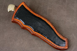 """Tarazed"" sheathed view. Sheath is sculpted and bold, with full panel inlays of ostrich leg skin"