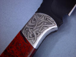 """Tharsis Intense"" reverse side front bolster engraving detail. Engraved 304 stainless steel is tough, hard and zero corrosion"