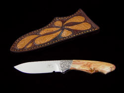 """Thuban"" obverse side view. Small, handy knife is deeply hollow ground for keen edge and longevity"