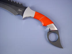 """Triton"" kerambit: obverse side handle detail. Gemstone handles are tough and hard."
