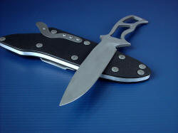 """Viper"" skeletonized knife, point detail. Knife point shape is distinctly combat, with a razor-keen edge and good belly"