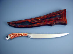 """Volans"" Reverse side view. Fine fillet, boning, carving knife, fully finished, sheath tooled front and rear."