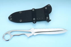 """Xanthid"" tactical/working dive knife, reverse side view with sheath shown with flat strap clamps, horizontal wear position. These anodized aluminum straps clamp rigidly to the belt or PALS or body armor or gear"