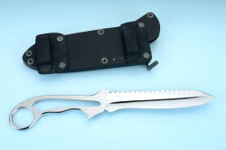 """Xanthid"" tactical/working dive knife, reverse side view with sheath shown with horizontal belt loop adapter plates. These plates are welded and anodized for durable security, allow knife to slide along .250"" x 1.5"" belt"
