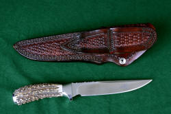 """Yarden"" reverse side view. Sheath back has full tooling, note double belt loops and all double row stitching throughout sheath"