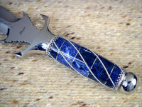 Sodalite gemstone on hidden tang dagger handle, wrapped in sterling silver wire, stainless steel fittings