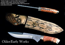 """Golden Eagle"" tactical knife in etched 440C high chromium stainless steel blade, nickel silver bolsters, Antelope Jasper gemstone handle, boa constrictor embroidered over leather sheath"
