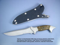 """Halius"" obverse side view; tactical combat knife in 440c high chromium stainless steel blade, 304 stainless steel bolsters, Tiger Stripe G10 fiberglass-reinforced epoxy handle, locking kydex, aluminum, stainless steel combat sheath"