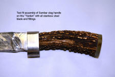 Hidden tang knife construction, dry fit of hidden tang knife components