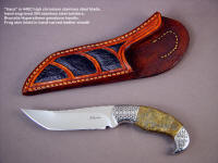 "Fine collector's grade tanto knife: ""Iraca"" in 440C stainless steel blade, hand-engraved 304 stainless steel bolsters, Bronzite Hypersthene gemstone handle, Frog skin inlaid in hand-carved leather sheath"