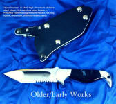 """Last Chance"" in 440C stainless steel blade, 304 stainless steel bolsters, Petrified Palm Wood gemstone handle, locking kydex, aluminum, stainless steel sheath"