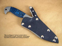 Locking combat, tactical knife sheath for Mercury Magnum, SWAT, law enforcement, working and fine handmade knives